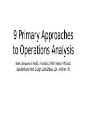3 Operations Analysis