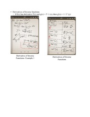 Chapter 4.3- Derivatives if Inverse Functions