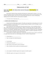 35 Characteristics Of Life Biology Worksheet Answers ...