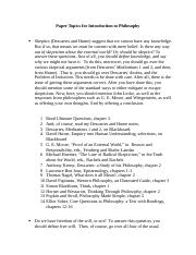 Paper Topics for Introduction to Philosophy