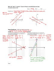 Parrallel and Perpendicular Line Notes