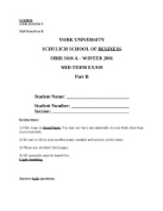 OBIR 3010 - Mid Term Exam Practice [Winter 2001] - PART B