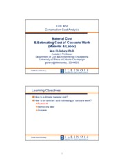 CEE 422-SP16-07-Material Cost & Estimating Concrete Work