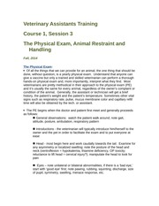 Veterinary Assistant Training-Course 1.3 - PE, Restraint and Handling