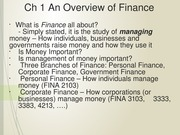 Ch 1 An Overview of Finance