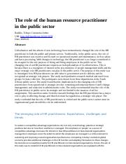 The role of the human resource practitioner in the public sector