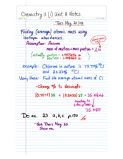 Chemistry 11-Unit 8 Class Notes