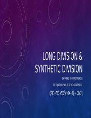 Long Division & Synthetic Division