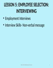 Lesson 5- Employee selection- Interviewing