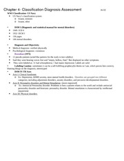 Ch. 4 Classification Diagnosis Assessment Notes