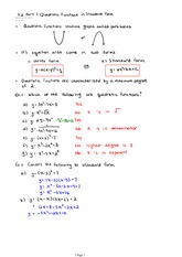 3.2 Part 1 Quadratic Functions in Standard Form