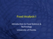 Food Analysis I