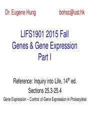 LIFS1901 2015 Fall Genes and Gene Expression I