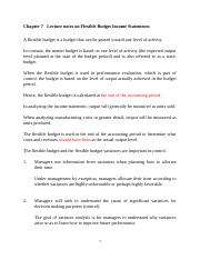 Chapter 7 Lecture notes on Flexible Budget Income Statements 15th