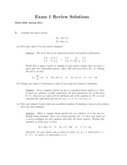 Practice Exam 1 Solution  Spring 2015 on Introduction to Linear Algebra