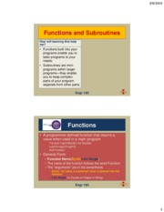 Lecture 15 - Functions and Subroutines