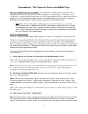 Organizational Field Experience Overview and Goals Paper