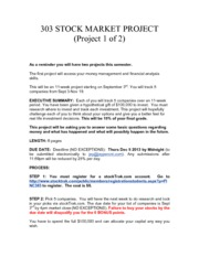 FINC 303 STOCK MARKET PROJECT FALL 2013