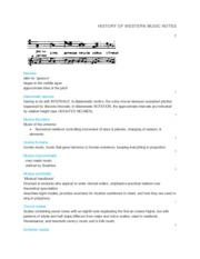 HISTORY OF WESTERN MUSIC NOTES