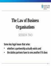 Law of Business Organisations Session 2 2014