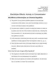 Electrolyte Effects Activity or Concentration