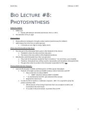 Bio Lecture #8 - Photosynthesis.docx