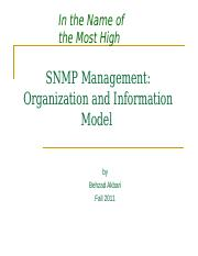 SNMP Management_Organization and Information Model
