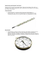 Measuring Instruments and Use1