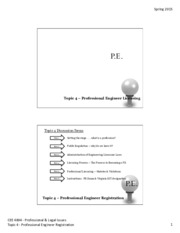 Professional Engineer Licensing Lecture