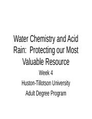 Week 4 Water Chemistry and Acid Rain.ppt