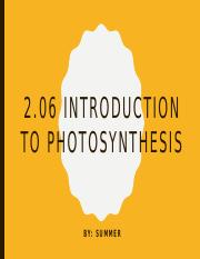 2.06 Introduction to Photosynthesis
