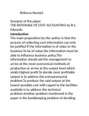 SYNOPSIS THE RATIONALE OF COST ACCOUNTING.docx