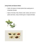 Using Herbs and Spices Notes