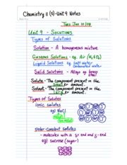 Chemistry 11-Unit 9 Class Notes
