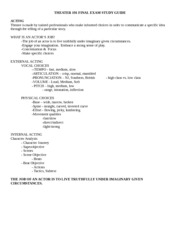 THEATER 191 FINAL EXAM STUDY GUIDE