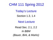 Lecture 3 CHM111 Student Slides