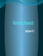 Lecture 1- Introduction of Marketing Research