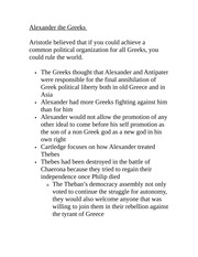 Classics 2440B Lecture Notes Alexander the Greeks