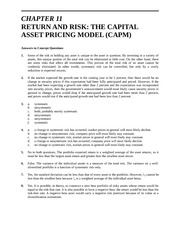 Solutions- Chapter 11 Return and Risk The Capital Asset Pricing Model