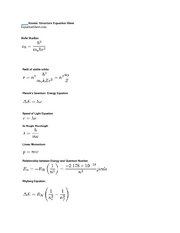 atomic structure equation sheet