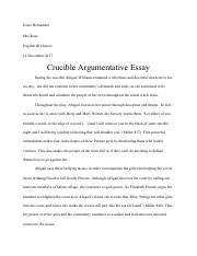 the crucible argumentative essay