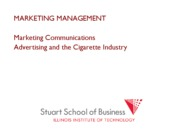 Marketing Management Lecture SMOKING
