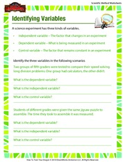 Identifying Variables Scientific Method Worksheets A Science Experiment Has Three Kinds Of Independent Variable The