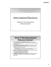 IB Chapter 10 - The International Monetary System