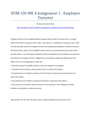 HTM 150 Week 4 Assignment 1 - Employee Turnover - Strayer University NEW
