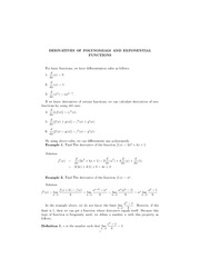 Derivative of polynomials and exponentials