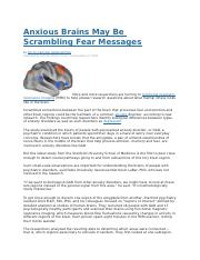 Anxious Brains May Be Scrambling Fear Messages.docx