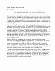 The Miracle Worker, Movie Reflection.docx