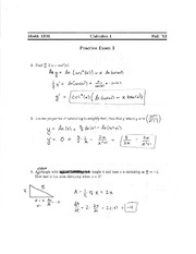 Practice Exam 2 Solution on Calculus 1