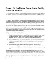 Agency for Healthcare Research and Quality Clinical Guidelines